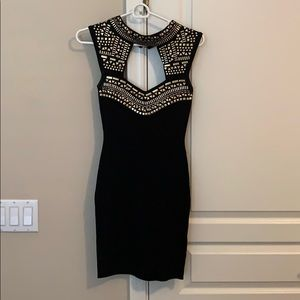 Bebe black dress with gold embellishments